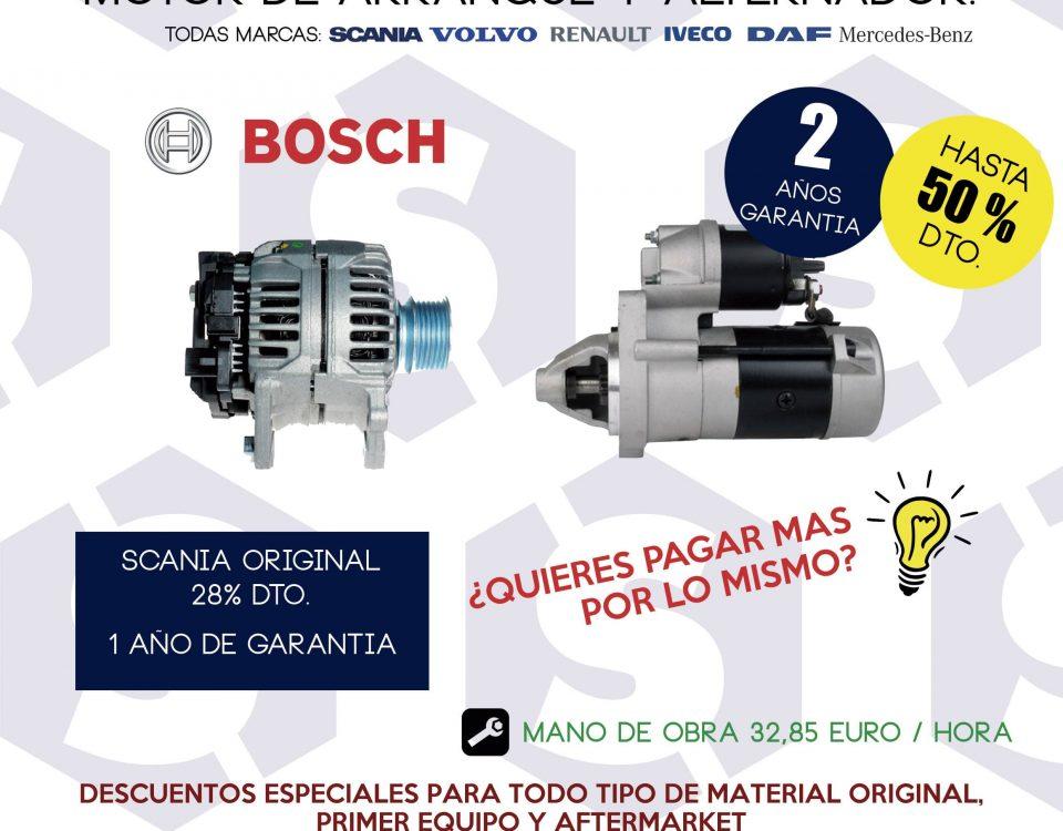 Sustitución motor de arranque y alternador para camiones en SCAORTIZ, con recambios Bosch