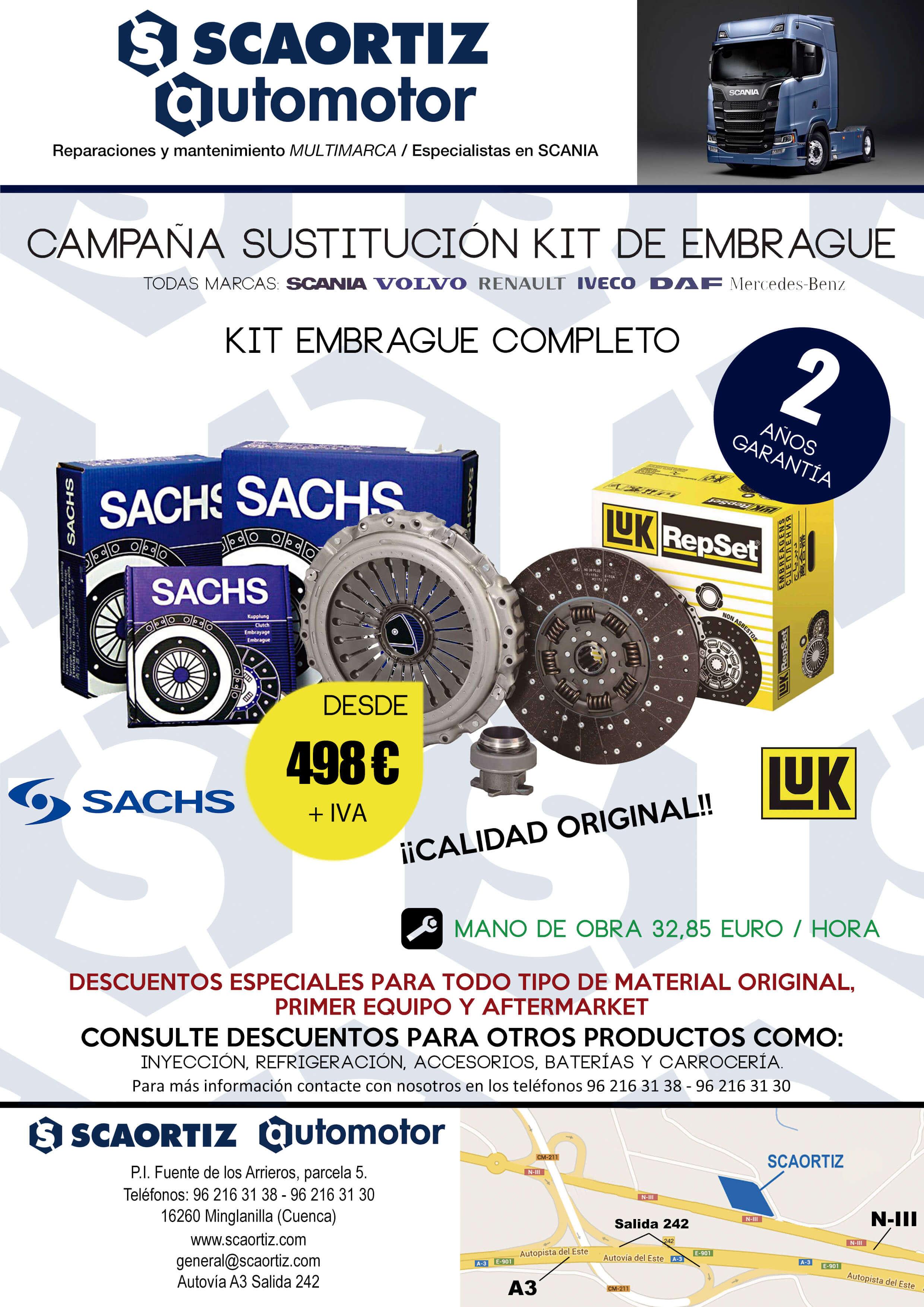 SCAORTIZ Kit de embrague campaña taller en A3 venta de recambios para camiones