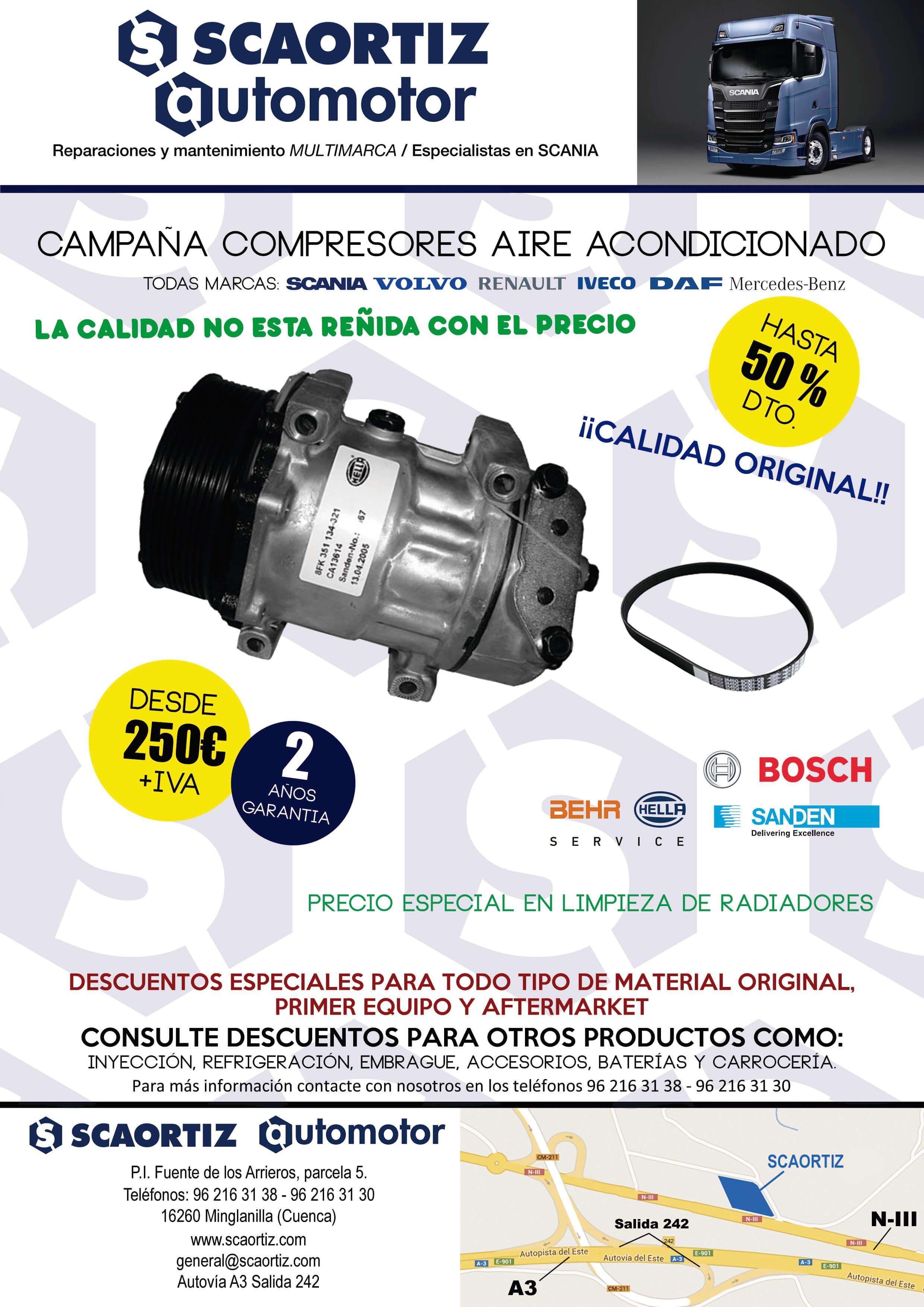 Compresores aire acondicionado camiones oferta en SCAORTIZ